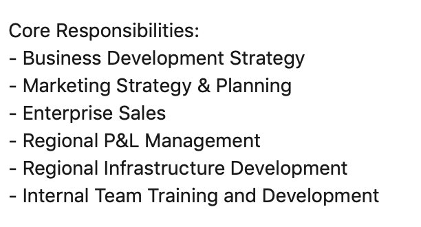 SG John Responsibilities